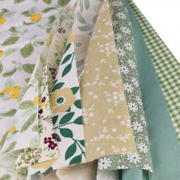 DIY 7PCS Bundles Fabric Fat Quarters Cotton Floral Dress Craft Quilt Sewing 50 x 50cm - Green