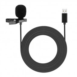 Clip-on Lapel Mini Lavalier USB 2.0 Mic Microphone for PC Recording
