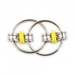 Fidget Hand Spinner Key Ring Chain for Stress Relieve ADHD - Yellow