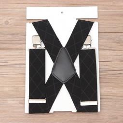 50mm Wide Diamond-shaped Dark Grain Trouser Braces Suspenders Adjustable Unisex Trousers Suspander - Black