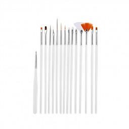 15 pcs Artist Painting Brushes Set Acrylic Oil Watercolour Painting Craft Art - White