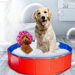 Dog Puppy Pool Bath Swimming Pool Foldable Portable Pet Paddling Bathing - 80x30cm