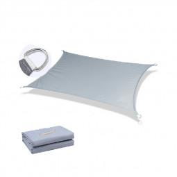 400D Rectangle Outdoor Shade Sail Patio Suncreen Awning Garden Sun Canopy 98% UV Block Grey - 3x2m