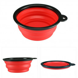 Pet Dog Cat Silicone Collapsible Feeding Bowl Travel Portable Bowl with Metal Buckle - Red