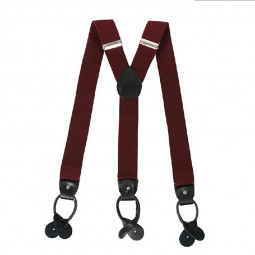 Youth Adjustable Trouser Belt Suspender Leather Button Braces - Wine Red