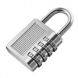 4 Digit Number Combination Padlock Travel Luggage Code Lock - Silver