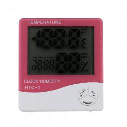Digital Thermometer Humidity Meter Room Indoor Temperature LCD Clock Hygrometer - Pink
