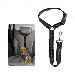 Headrest Anti Shock Pet Dog Car Seat Belt Bungee Lead Travel Safety Harness - Black