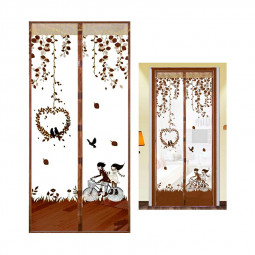 Magic Door Curtain Mesh Magnetic Fastening Hands Free Insect Fly Screen - Coffee Bicycle