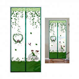 Magic Door Curtain Mesh Magnetic Fastening Hands Free Insect Fly Screen - Green Bicycle