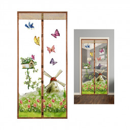 Magic Door Curtain Mesh Magnetic Fastening Hands Free Insect Fly Screen - Coffee Windmill