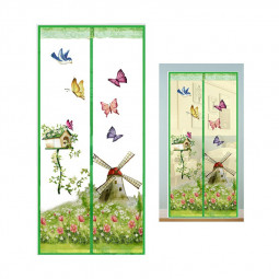 Magic Door Curtain Mesh Magnetic Fastening Hands Free Insect Fly Screen - Green Windmill