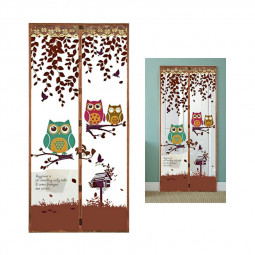 Magic Door Curtain Mesh Magnetic Fastening Hands Free Insect Fly Screen - Coffee Owl