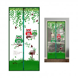 Magic Door Curtain Mesh Magnetic Fastening Hands Free Insect Fly Screen - Green Owl