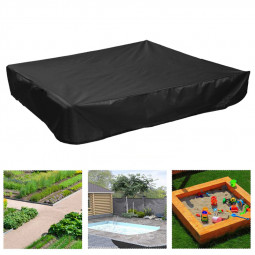 Bench Seat Sand Box Cover Sandpit Cover Oxford Waterproof Protector Square - Black