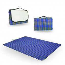 Picnic Blanket Car Travel Camping Outdoor Mat Rug with Carry Handle - Blue