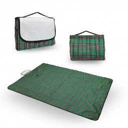 Picnic Blanket Car Travel Camping Outdoor Mat Rug with Carry Handle - Green