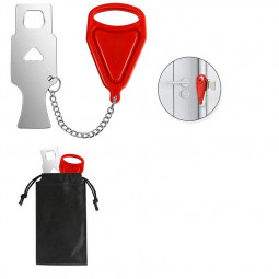 Portable Door Lock Travel Lock Additional Safety and Privacy Lock Security - Red.