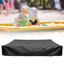 Bench Seat Sand Box Cover Sandpit Cover Oxford Waterproof Protector 150x150x20cm - Black