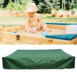 Bench Seat Sand Box Cover Sandpit Cover Oxford Waterproof Protector 150x150x20cm - Green