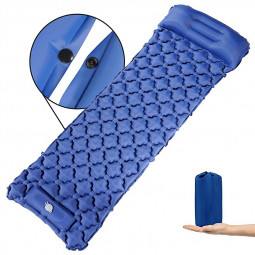 Integrated Foot Pump Portable Inflatable Camping Sleeping Mat with Pillow - Navy Blue