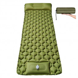 Integrated Foot Pump Portable Inflatable Camping Sleeping Mat with Pillow - Army Green