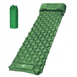 Integrated Foot Pump Portable Inflatable Camping Sleeping Mat with Pillow - Pine Green