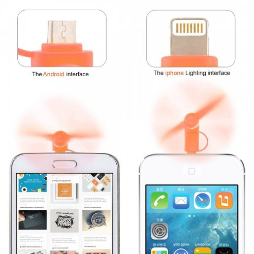 Portable 2 in 1 Phone Mini Fan Cooling Cooler for iPhone 6/7/8/XS Huawei Samsung - Orange