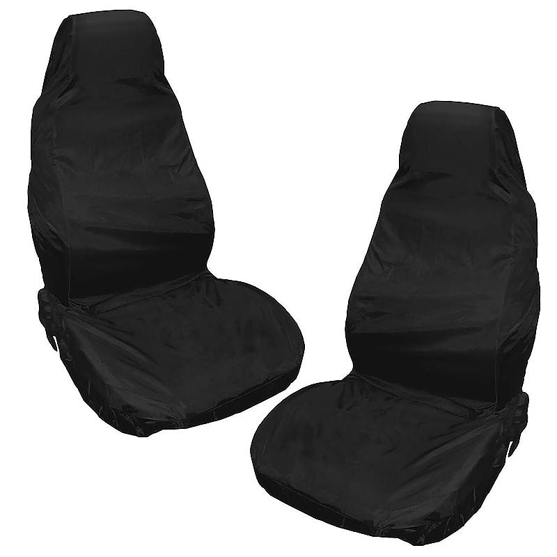 2pcs Reusable Waterproof Nylon Auto Car Van Vehicle Seat Chair Cover Protector - Black