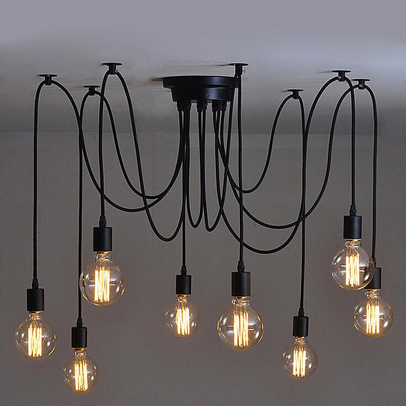 Vintage Industrial Style Chandelier Pendant Lights DIY Ceiling Lamp 8 Heads