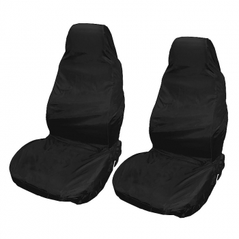 2pcs Reusable Waterproof Nylon Auto Car Van Vehicle Seat Chair Cover Protector - Black