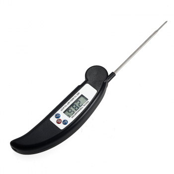 Digital Foldable LCD Kitchen Food Cooking Meat Milk Probe Therometer Reader - Black