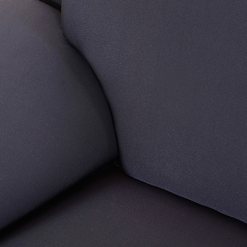 Polyester Spandex Fabric 1-Piece Stretch Slipcover for 2-Seats Sofa - Black