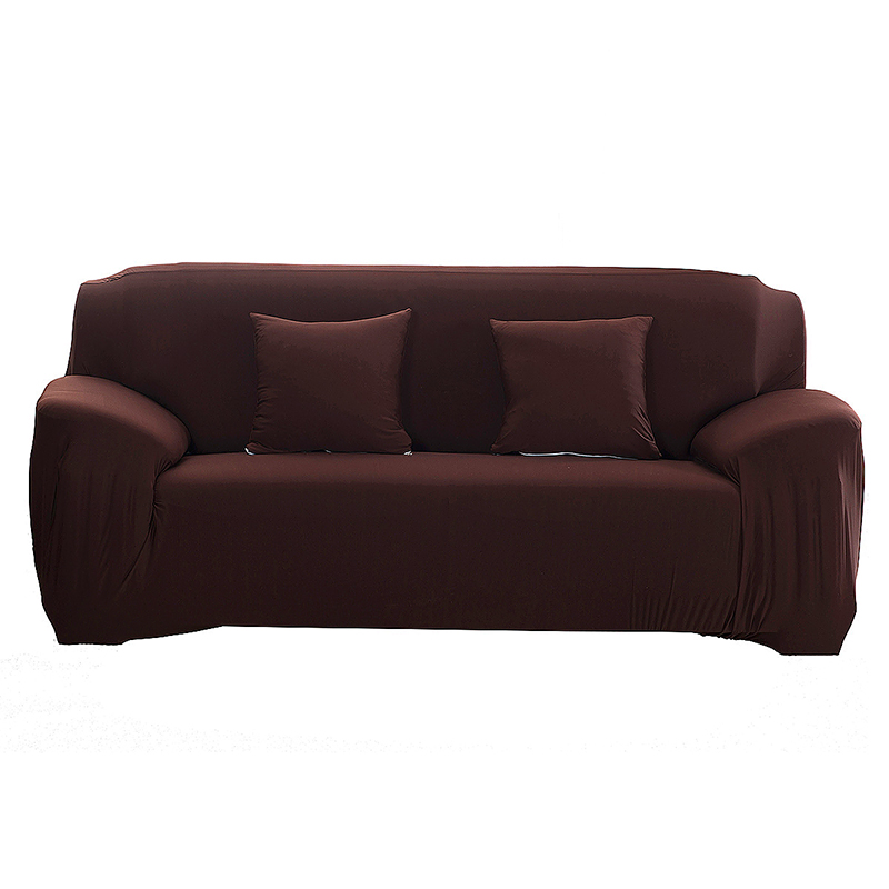 Polyester Spandex Fabric 1-Piece Stretch Slipcover for 3-Seats Sofa - Brown