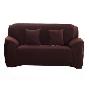 Polyester Spandex Fabric 1-Piece Stretch Slipcover for 2-Seats Sofa - Brown