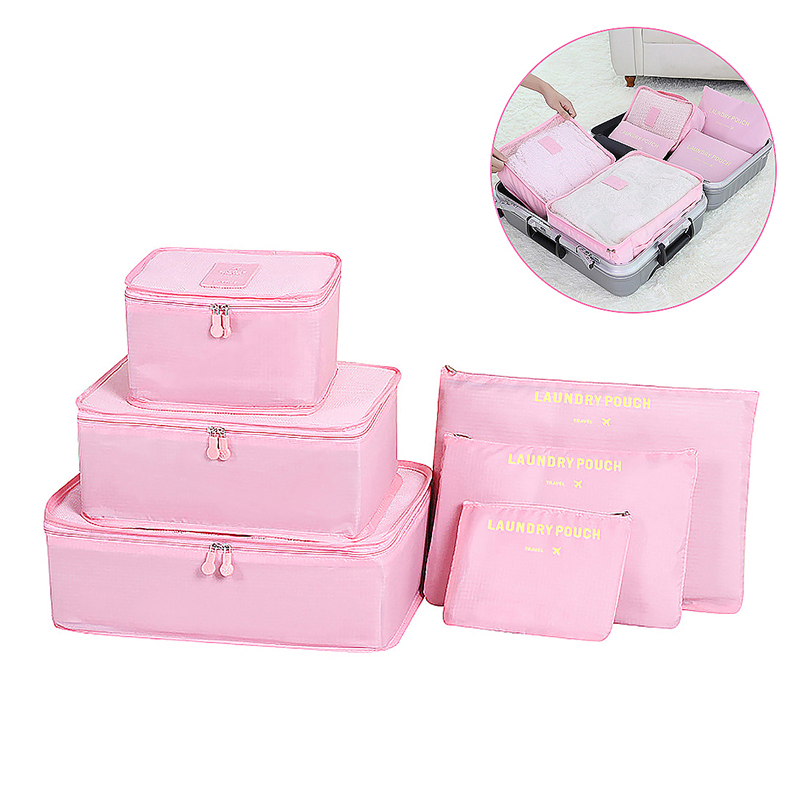 6pcs Waterproof Travel Storage Bags Clothes Packing Cube Luggage Organizer - Pink