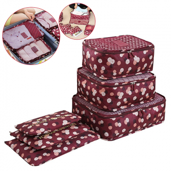 6Pcs Clothes Storage Bags Set Cube Daisy Printed Travel Home Luggage Organizer Pouch - Wine Red