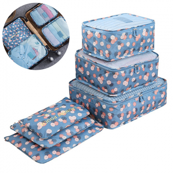 6Pcs Clothes Storage Bags Set Cube Daisy Printed Travel Home Luggage Organizer Pouch - Blue