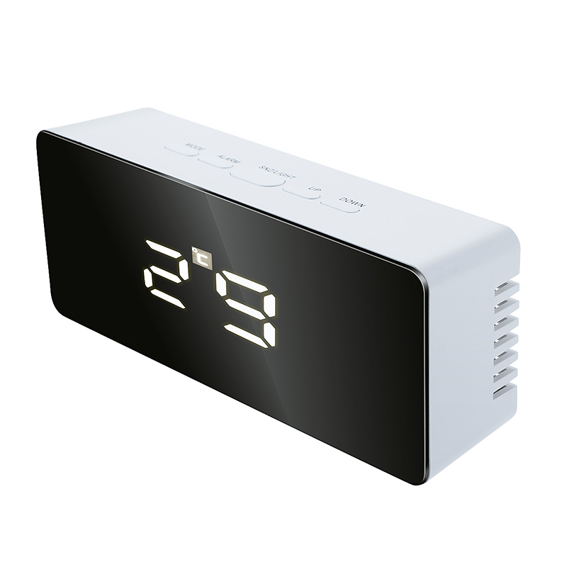 Digital Mirror LED Snooze Alarm Clock Time with Temperature Night Mode