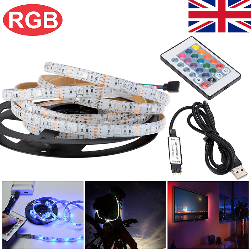 4M USB LED Strip Light TV Back Lamp 5050 RGB Color Changing + Remote Control