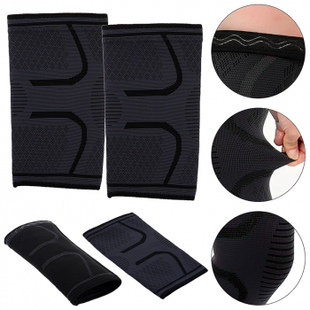 1 Pair Self-Heating Anti-slip Knee Support Pad Arthritis Brace Protective Belt Black - Size L