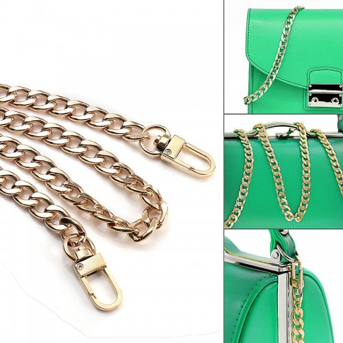 Bag Metal Flat Chain Replacement Strap for Handbag Purse - Gold