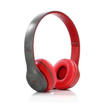 ST3 Wireless Bluetooth Headset Stereo Adjustable On-ear Headphone Earphone - Red