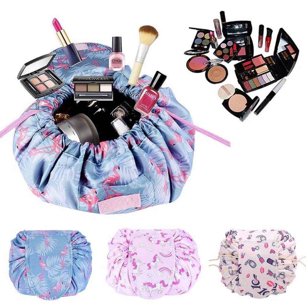 Portable Makeup Drawstring Bags Storage Travel Pouch Cosmetic Bag - Blue Flamingo
