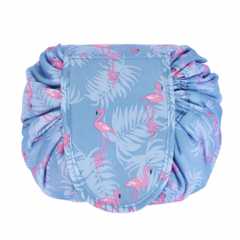 Portable Makeup Drawstring Bags Storage Travel Pouch Cosmetic Bag - Blue Flamingo
