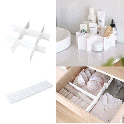 4Pcs Adjustable Clapboard Drawer Organizer Divider Partition Storage Wardrobe Plastic Clapboard