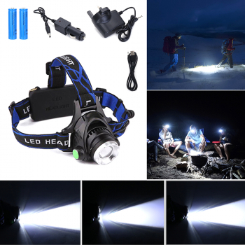 20000 Lumen XM-L T6 LED Rechargeable Zoom Headlamp Headlight Head Torch Lamp