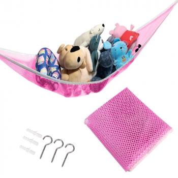 Bedroom Toy Storage Organizer Toy Hammock Net Mesh Hanging Network - Pink