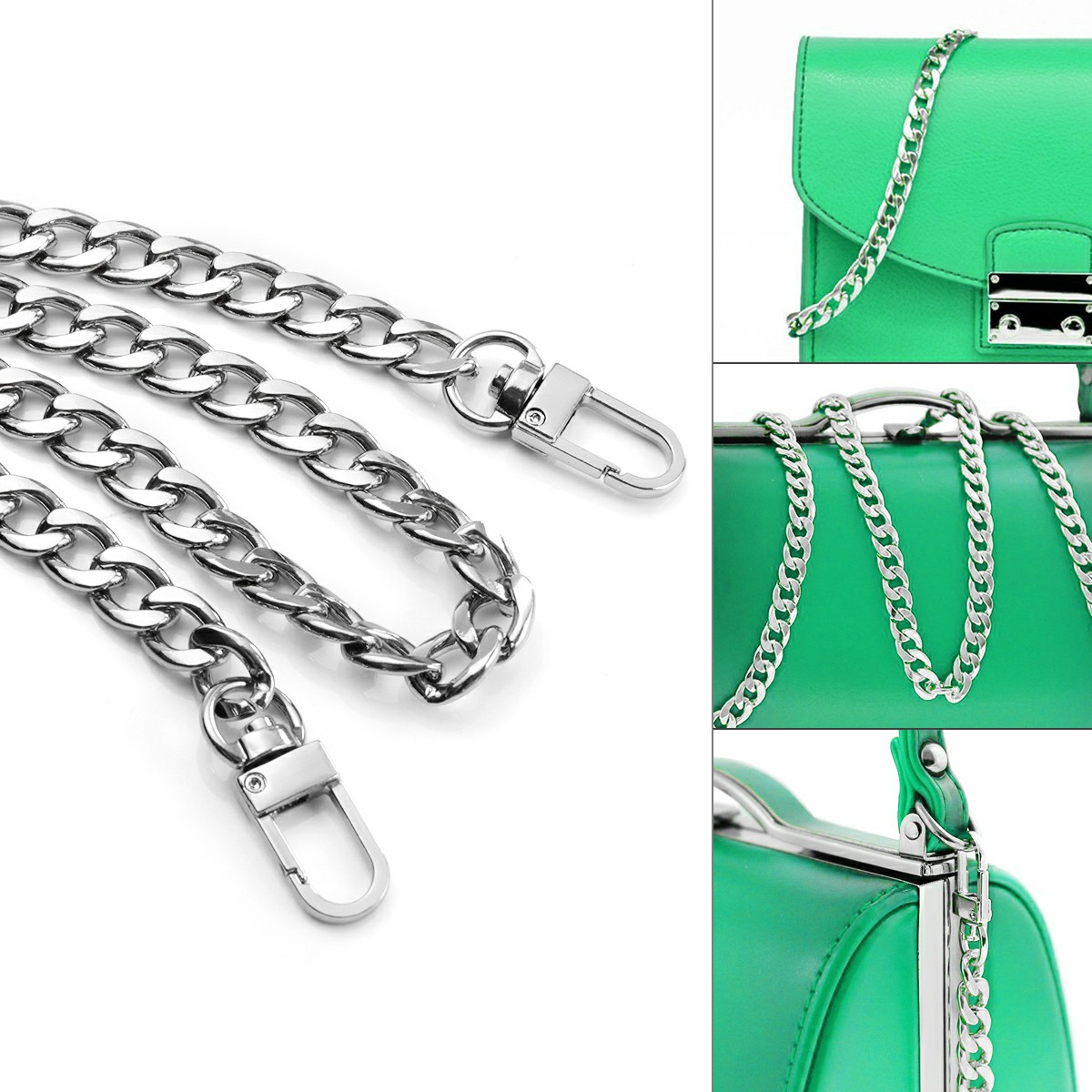 Bag Metal Flat Chain Replacement Strap for Handbag Purse - Silver