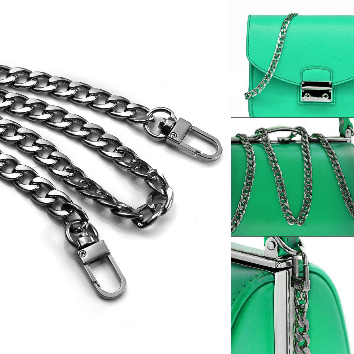 Bag Metal Flat Chain Replacement Strap for Handbag Purse - Black